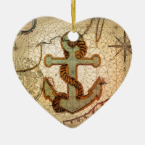 Coastal Beach Nautical Map vintage Anchor Ceramic Ornament