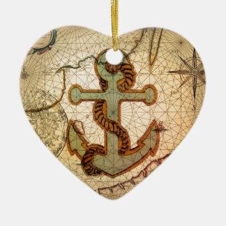 Coastal Beach Nautical Map vintage Anchor Ceramic Ornament