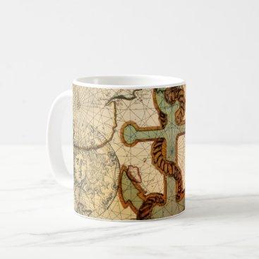 Beach Themed Coastal Beach Nautical Map vintage Anchor Coffee Mug