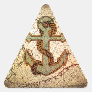 Coastal Beach Nautical Map vintage Anchor Triangle Sticker
