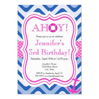 Coastal beach nautical pink girl happy birthday card