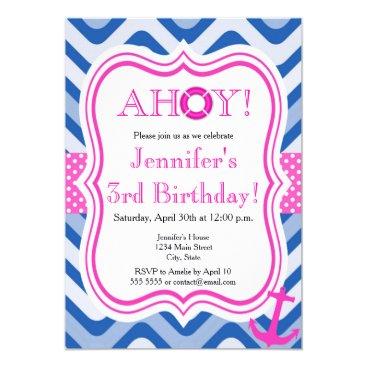 Beach Themed Coastal beach nautical pink girl happy birthday card