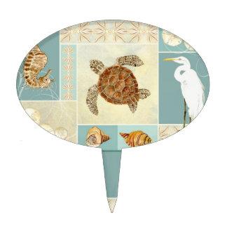 Coastal Beach Ocean Seashore Collage Sea Turtle Cake Topper