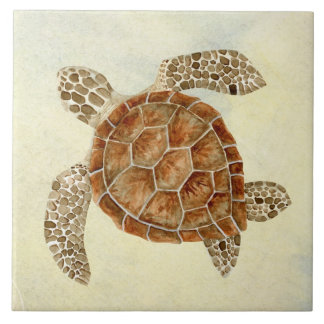 Coastal Beach Ocean Seashore Collage Sea Turtle Ceramic Tile