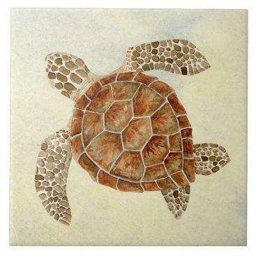 Beach Themed Coastal Beach Ocean Seashore Collage Sea Turtle Ceramic Tile