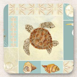 Coastal Beach Ocean Seashore Collage Sea Turtle Coaster
