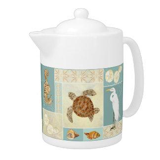 Coastal Beach Ocean Seashore Collage Sea Turtle Teapot
