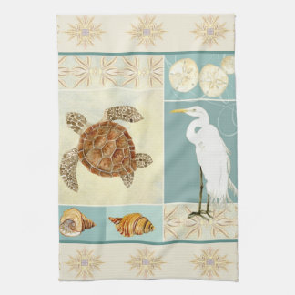 Coastal Beach Ocean Seashore Collage Sea Turtle Towel