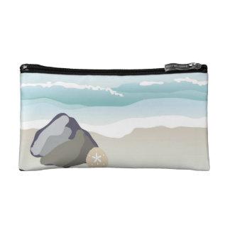 Coastal Beach - Rock, Sand Dollar and Waves Makeup Bag