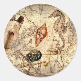 Coastal beach starfish seashell Nautical Map Classic Round Sticker