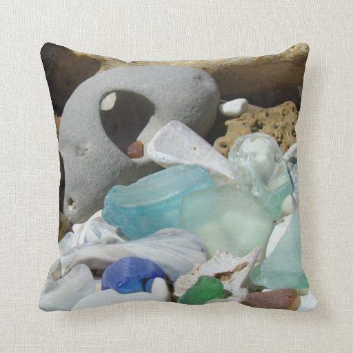 Coastal Color Throw Pillows : Coastal Beach Throw Pillow Blue Sea Glass Fossils Zazzle