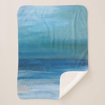 Beach Themed Coastal Beach Wave Fine Art Painting Sherpa Blanket