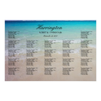 Coastal Beach Wedding Reception Seating Chart