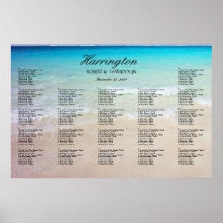 Coastal Beach Wedding Reception Seating Chart Poster