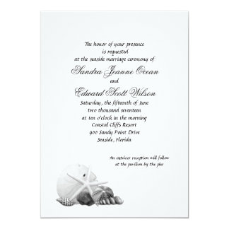 Coastal Black & White Shell Wedding Invitations