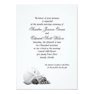 Beach Themed Coastal Black & White Shell Wedding Invitations