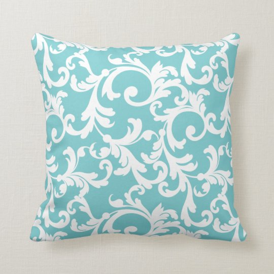 Coastal Blue Elegant Damask Throw Pillow Zazzle