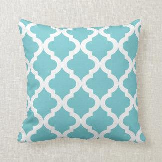 Coastal Blue Moroccan Quatrefoil Print Pillows