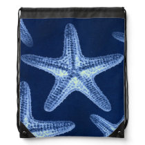 coastal chic beach rustic nautical blue starfish drawstring bag