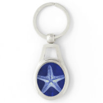 coastal chic beach rustic nautical blue starfish keychain