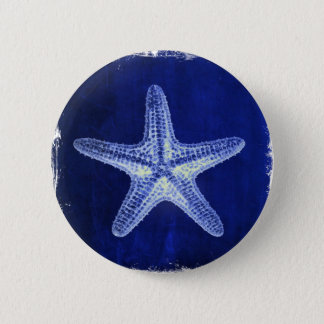 coastal chic beach rustic nautical blue starfish pinback button