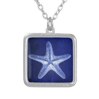 coastal chic beach rustic nautical blue starfish silver plated necklace