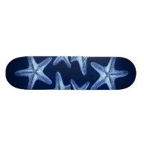 coastal chic beach rustic nautical blue starfish skateboard