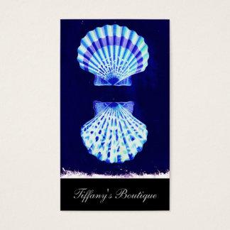 coastal chic beach rustic nautical navy seashells business card