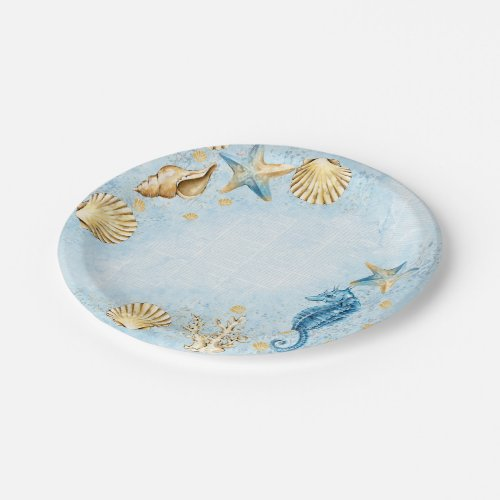 Coastal Chic  Blue and Gold Coral Reef Paper Plate