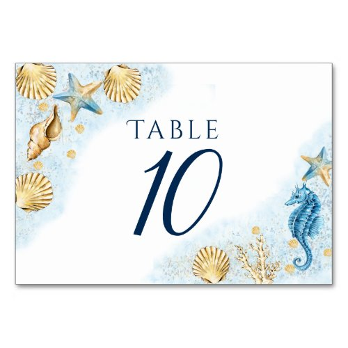 Coastal Chic  Blue and Gold Coral Reef Table Number
