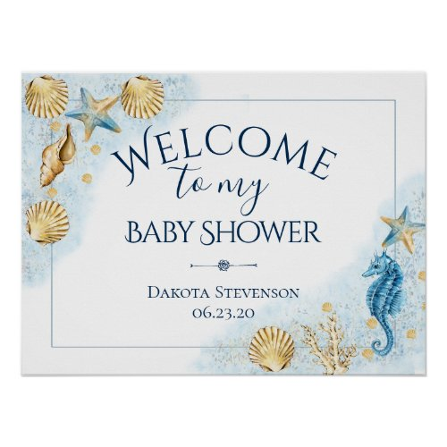 Coastal Chic  Modern Coral Reef Baby Shower Poster