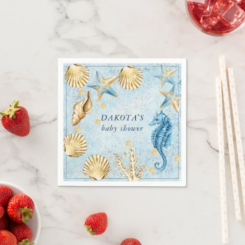 Coastal Chic  Modern Coral Reef Party Napkins