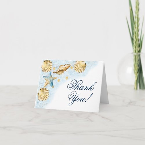 Coastal Chic  Modern Coral Reef Party Thank You Card