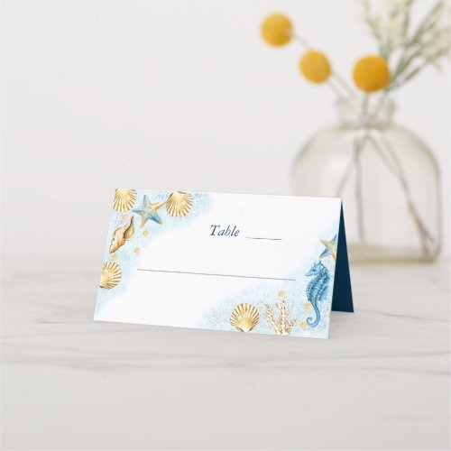Coastal Chic  Modern Coral Reef Place Card