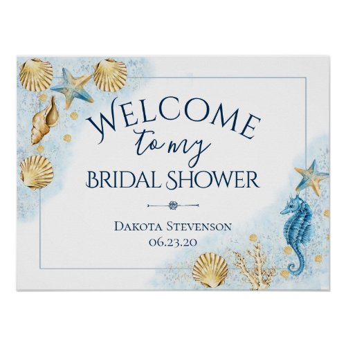 Coastal Chic  Modern Coral Reef Shower Welcome Poster