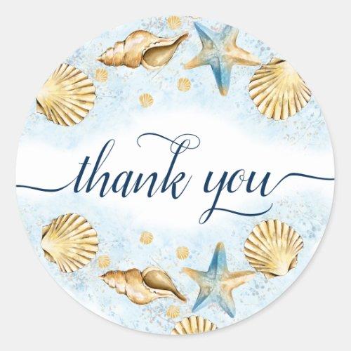 Coastal Chic  Modern Coral Reef Thank You Classic Round Sticker