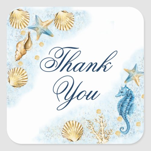 Coastal Chic  Modern Coral Reef Thank You Square Sticker