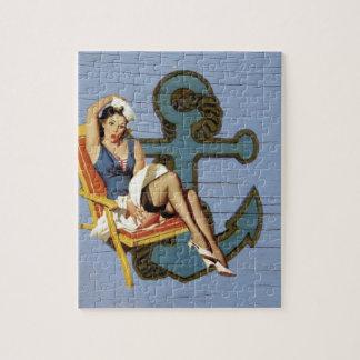 coastal Chic Nautical Anchor Pin Up Girl Sailor Jigsaw Puzzle