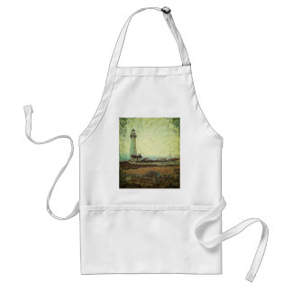 Coastal chic oil painting landscape lighthouse adult apron