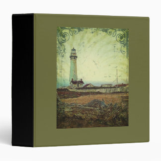 Coastal chic oil painting landscape lighthouse binder