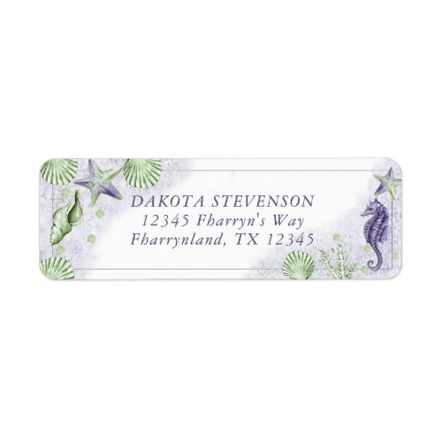 Coastal Chic  Purple and Green Sea Return Address Label