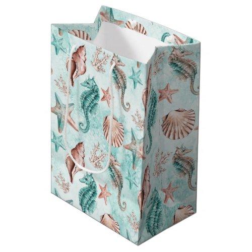 Coastal Chic  Teal and Coral Reef Pastel Pattern Medium Gift Bag