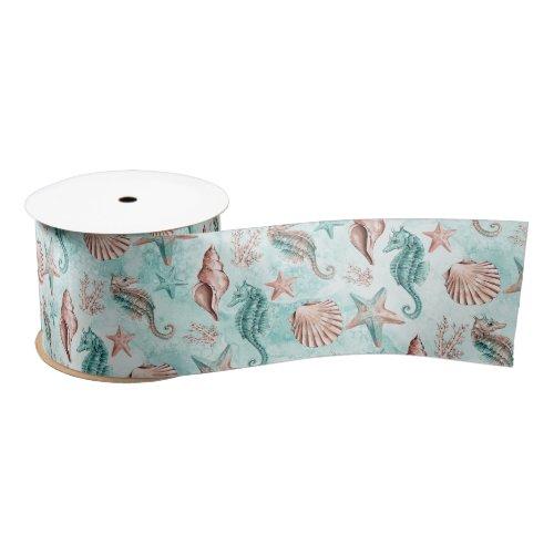 Coastal Chic  Teal and Coral Reef Pastel Pattern Satin Ribbon