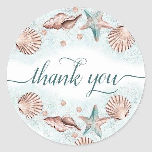 Coastal Chic  Teal Green and Coral Reef Thank You Classic Round Sticker