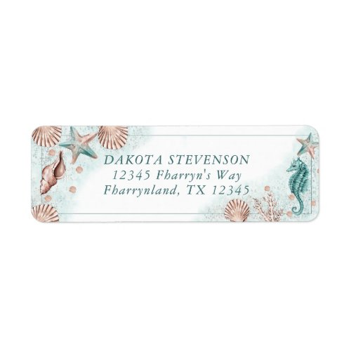 Coastal Chic  Teal Green and Coral Return Address Label