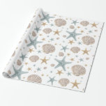 """Coastal Christmas Beach Seashells Starfish Holiday Wrapping Paper<br><div class=""""desc"""">Coastal Christmas style holiday wrapping paper featuring a hand painted seashell and starfish pattern in pastel blue,  gold and beige.  Perfect for tropical,  beach and nautical decor themes.</div>"""
