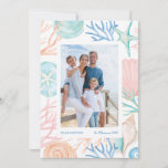 """Coastal Christmas Beach Watercolor Seashell Photo Holiday Card<br><div class=""""desc"""">Who needs snowflakes when you have seashells! Capture a cool nautical casual and coastal vibe this holiday sea-son with our coastal seaside-inspired holiday Christmas collection. We"""