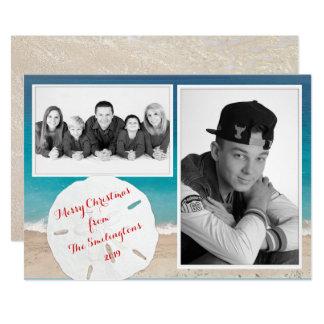 Coastal Christmas Family Photo Sand Dollar Card