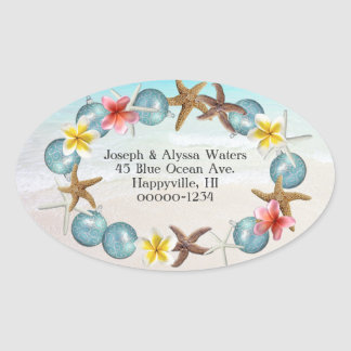 Coastal Christmas Hawaiian Wreath Address Labels