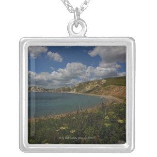 Coastal cliffs and landscape square pendant necklace